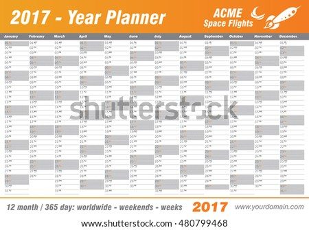 Year Planner Calendar 2017 - International worldwide printable organizer planner scheduler - with dates, days of the month - space for personal notes. Week starts Monday. Orange, gold, citrus, vector.