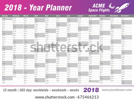 Year Planner Calendar 2018 Vector Annual Stock Vector ...