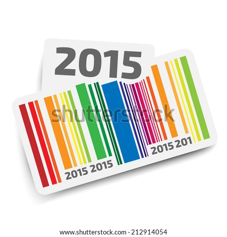 Year 2015 sticker with color bar code  - stock vector