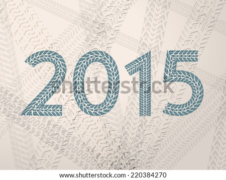 Year 2015 text with grunge tire tracks - stock vector