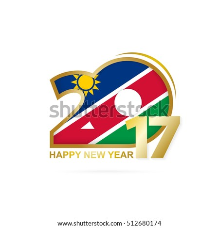 Year 2017 with Namibia Flag pattern. Happy New Year Design on white background. Vector Illustration.