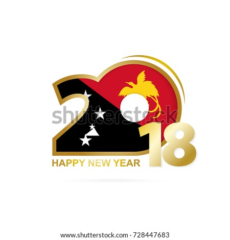 Year 2018 with Papua New Guinea Flag pattern. Happy New Year Design. Vector Illustration.