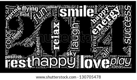 Year 2014 word cloud with happy terms. - stock vector