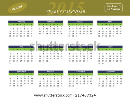 Yearly calendar for 2015 year. Week starts on Sunday - stock vector