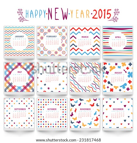 Yearly 2015 calendar with different pattern. - stock vector