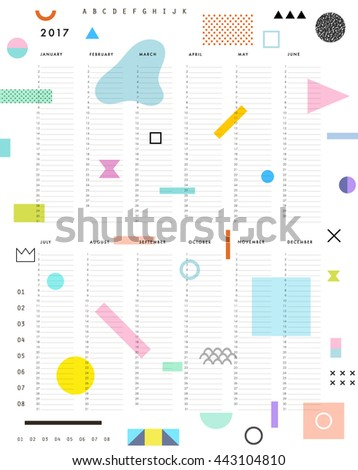Yearly Planner Calendar with Vertical Months on white background. Universal template can be used for any year. Creative Organizer and Schedule. Vector - stock vector