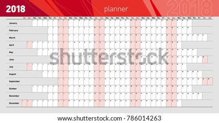 Yearly wall planner for the 2018 year. Template. Vector illustration .eps10