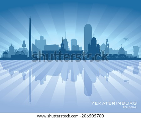 Yekaterinburg Russia skyline city silhouette Vector illustration