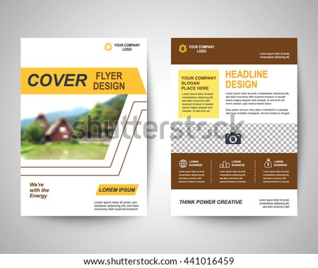 Yellow Abstract Flyer Layout Template Brochure Stock Photo Photo