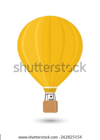 Yellow aerostat with man, flat illustration isolated on white