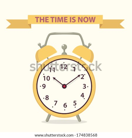 yellow alarm clock - stock vector