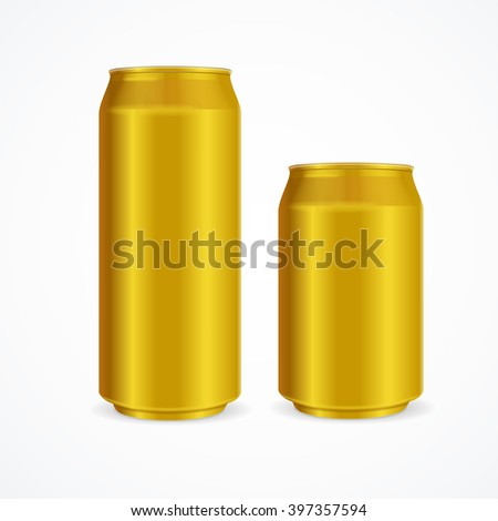 Yellow Aluminium Cans Different Size. Vector illustration