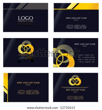 yellow and black business card template Set3 - stock vector