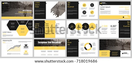 Yellow black business presentation slides templates stock vector yellow and black business presentation slides templates from infographic elements can be used for presentation wajeb Gallery