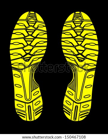 yellow and black imprint soles shoes vector isolated on black background - sneakers