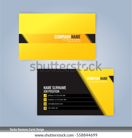 Yellow Black Modern Business Card Template Stock Vector 558844699 ...