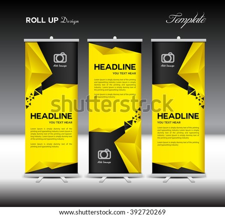 yellow black roll banner template stand stock vector 392720269 shutterstock. Black Bedroom Furniture Sets. Home Design Ideas