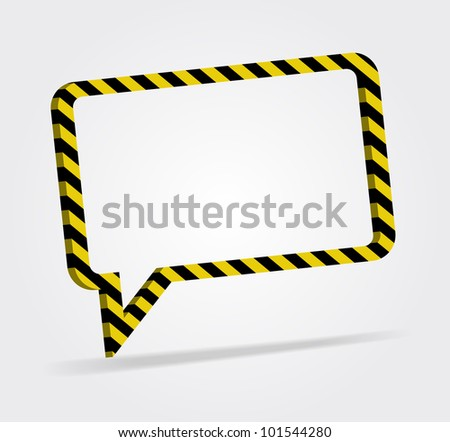 yellow and black striped speech bubble 3d, modern style, vector design element. - stock vector