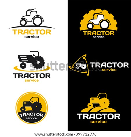 Yellow and black Tractor logo vector set design - stock vector
