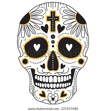 Yellow and black vector isolated Mexican trditional sugar skull, illustration for day of the  dead - stock vector