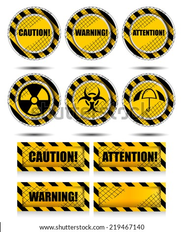 Yellow and black warning sign set - stock vector