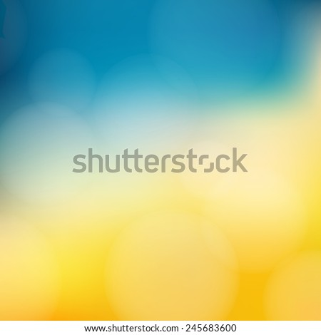 Yellow and blue background with defocused lights -Vector - stock vector