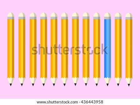 yellow and blue pencil on pink background