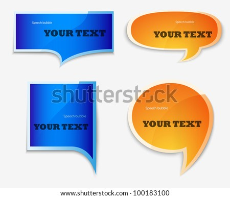 yellow and blue quote speech bubble - stock vector