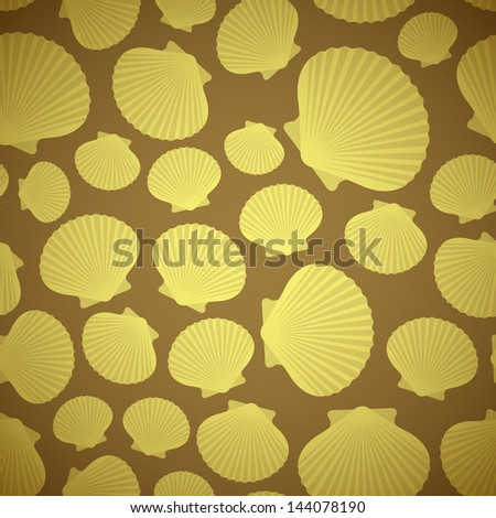 Yellow and Brown Seashell seamless pattern