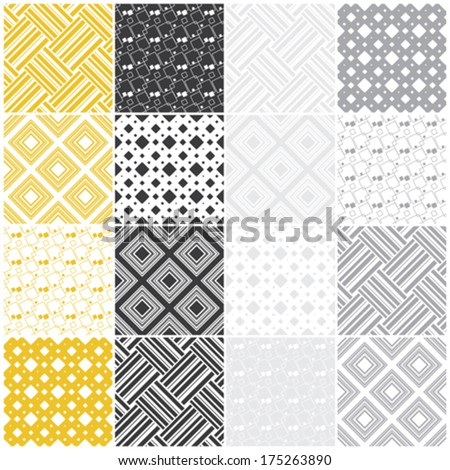yellow and gray geometric seamless patterns with squares and stripes, vector illustration
