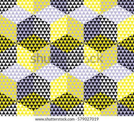 Yellow Gray Geometry Hexagon Seamless Fabric Stock Vector HD ...