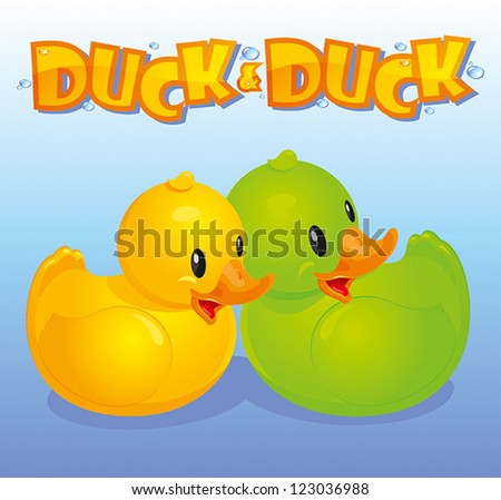 Yellow and green duck on a background of blue water - stock vector