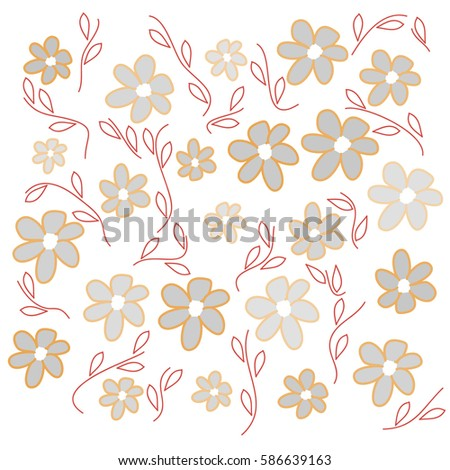 Yellow grey flowers on white background stock vector 586639163 yellow and grey flowers on white background with leaves mightylinksfo
