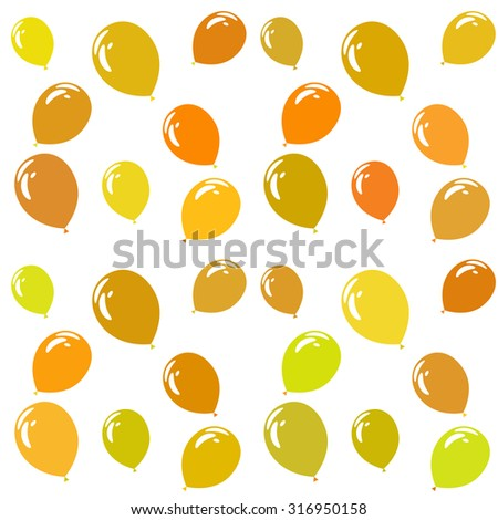 Yellow and orange cute balloons - holiday vector pattern - stock vector