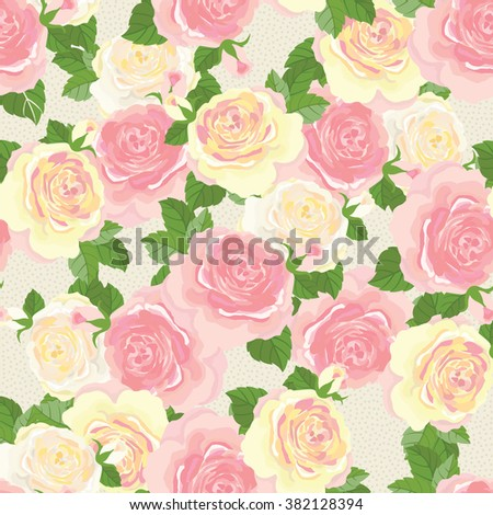 Yellow and pink blooming roses - vector seamless pattern
