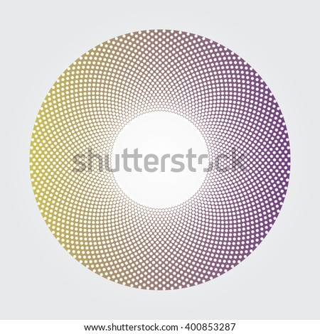 Yellow and purple gradients donut dot design