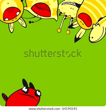Yellow and red monsters - stock vector