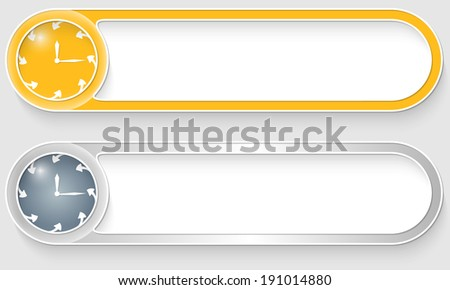 yellow and silver vector abstract buttons with clock - stock vector