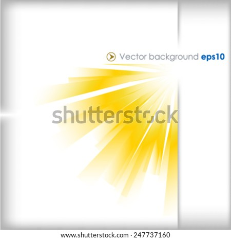 Yellow and silver vector background with sun burst effect - stock vector