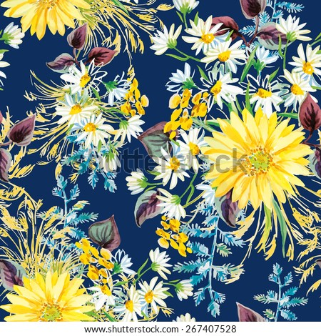 Yellow and white flowers with violet leaves and floral elements on the dark blue background. Watercolor seamless pattern with summer flowers. Gerbera and daisies. - stock vector