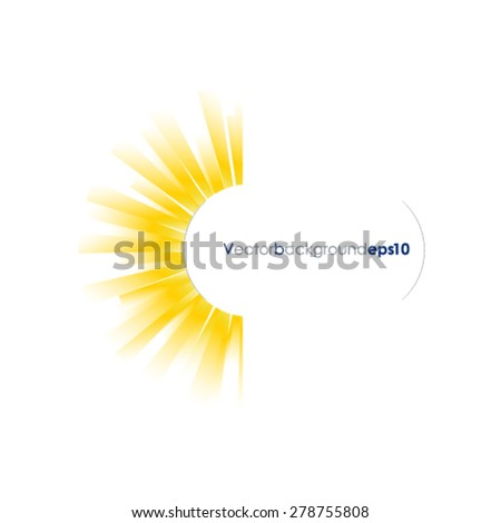 Yellow and white vector background with sun burst effect - stock vector