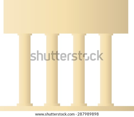 Yellow antique colonnade vector pattern