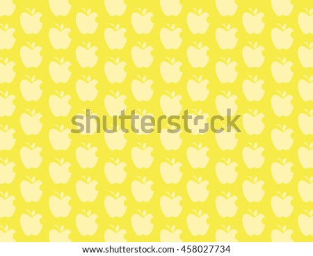 Yellow apple with leaf pattern over yellow background - stock vector