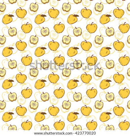 Yellow apples. Fruit seamless background. Hand drawn doodle apple Vector seamless pattern.  - stock vector