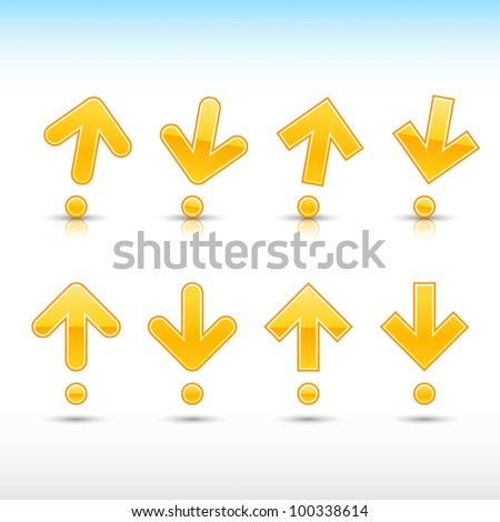 Yellow arrow sign in form of exclamation mark. Glossy and satined shapes with reflection on white background. Vector illustration saved in 10 eps. - stock vector