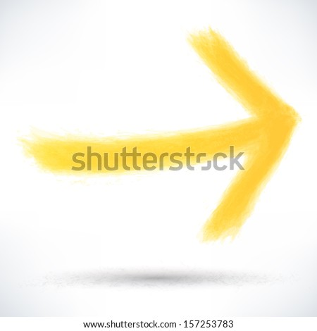 Yellow arrow sign painted by brush stroke with drop gray shadow on white background. Drawing created in ink sketch handmade technique. Vector illustration design element save in 10 eps
