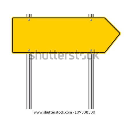 yellow arrow to the left road sign - stock vector