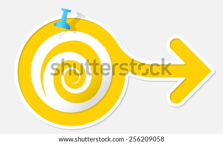 Yellow arrow with white frame and symbol spiral - stock vector