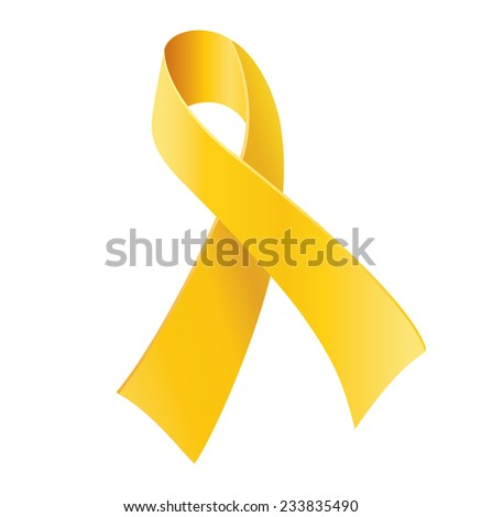 Yellow awareness ribbon on white background. Bone cancer and troops support symbol/ - stock vector