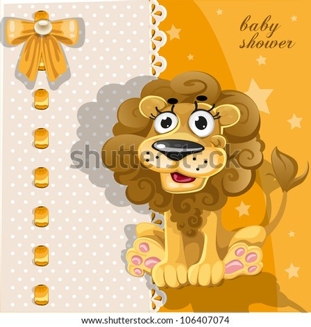 Yellow baby shower card with cute cartoon lion - stock vector
